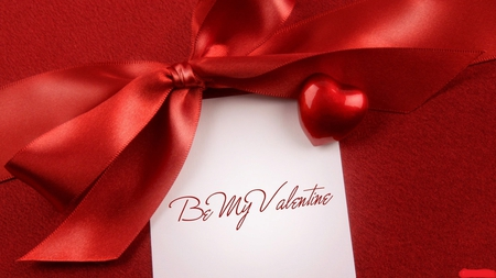 Valentine crush - question, beautiful, ribbon, romantic, be my valentine, note, love, red, lovely, heart, letter, bow, valentine, in love, crush, admire, romance, writing