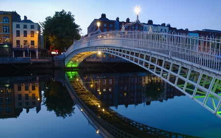 bridge - dusk, bridge, reflection, pedestrian