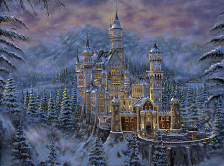 Robert Finale - Neuschwanstein Castle - painting, art, neuschwanstein castle, robert finale