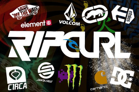 Collage 1 - circa, volcom, santa cruz, element, ecko, carhart, etnies, vans, ripcurl, monster, dc
