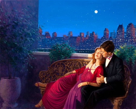 Romantic evening - passion, hugs, evening, summer, sky, red dressed, lovers, romantic, night, man, woman, moon, love