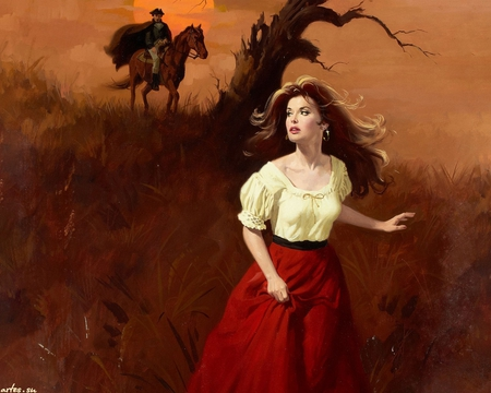 Runaway - horse, beautiful, field, painting, art, runaway, man, maguire, gypsy, woman, black hair, red, fantasy