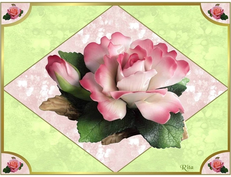 SPECIALLY FOR APPLEJACKQUEEN - diamond, pink rose, corners, small roses