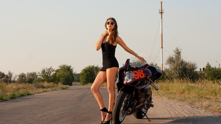Bike and Babe for Brion (TrikeRider) - bike, heels, beautiful, road, styish, babe, lovely, girl, glasses