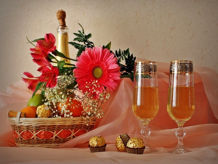 Still life - flowers, candies, nice, red, cheers, bouquet, champagne, wine, beautiful, lovely, glasses, pretty, still life, gift, gerbera