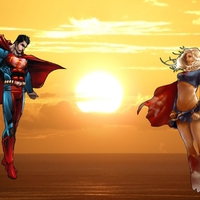 Supergirl and Superman at sunset