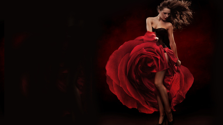 RED ROSE - girl, rose, fashion, beautiful, red, remarkable, dress