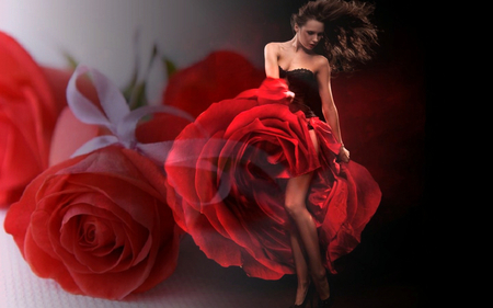 The dancing Queen dance between the roses - rose, flowers, abstract, art, woman, roses, dream, red, nature, fantasy