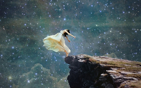 On the Edge - beautiful, sky, stars, outstreched, hands, lady, woman, on the edge, cliff