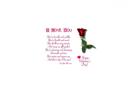 I love you - poetry, rose, beautiful, romantic, words, heart, valentine, flower, lover, sentimental, poem, white, red, valentines day, romance, writing