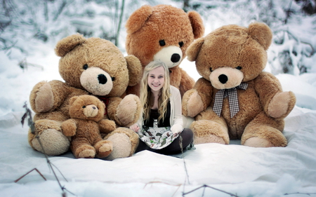 Teddy Bear hugs - girl, teddy bears, sitting, big, smiling, beautiful, snow, winter