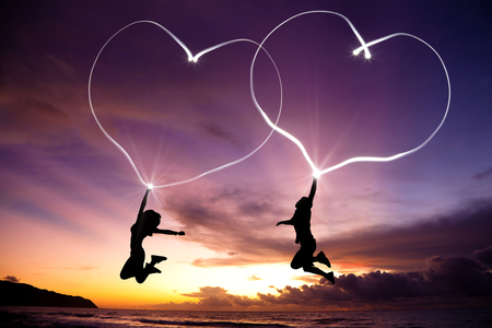 Beautiful Heart - sunset, beautiful, sky, love, men, sweet, heart, women