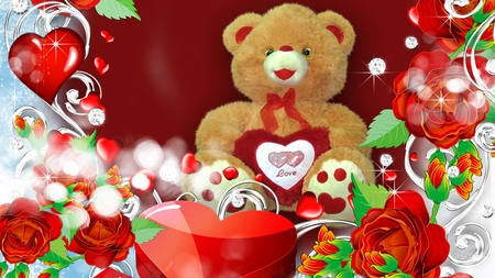 Special Valentine Bear - cute, hearts, special, red roses, teddy bear, love, valentines day, sweet, gift, romance