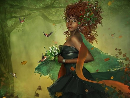 GLORIOUS MAGE - female, flowers, mage, forest, magic, hummingbirds