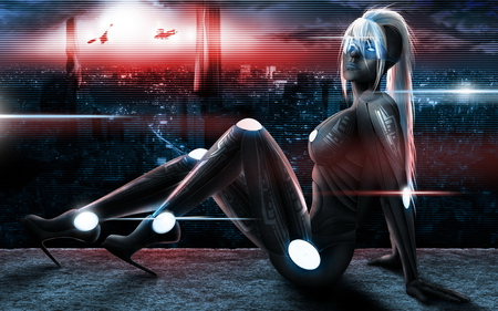 Future Girl - cool, style, pose, future, sexy, female, girl, hd, digital painting, hot, hair, neon, robot, fantasy, blonde, cg