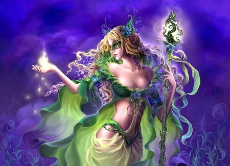 Elvin Magic - beautiful, painting, elvin, art, pretty, magic, digital, girl, elf, woman, drawing, elven, fantasy, staffe, dress