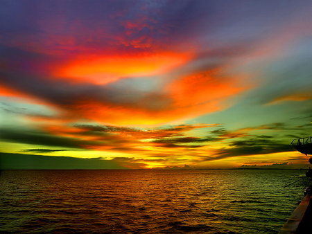 Sky colors - beautiful, colorful, mirrored, reflection, sky, colors, pretty, lovely, night, water, afternoon, nice, clouds, sea, nature, ocean