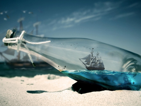 Ship in a bottle - manipulasyon, ship, sea, bottle