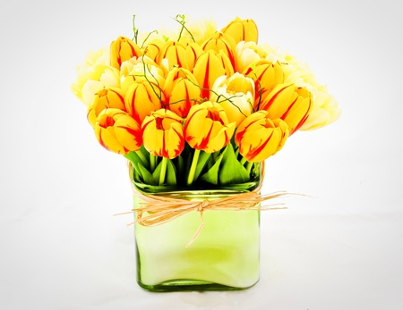 ღ Scent of spring ღ - spring, square vase, ribbon, forever, bright, yellow, new life, fashion, red, entertainment, arrangement, green, warm, brilliant, crystal, bunch, floral, tulips, special, light, sunshine, sunny, bouquet