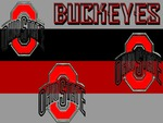 BUCKEYES, 3 RED BLOCK O's OHIO STATE