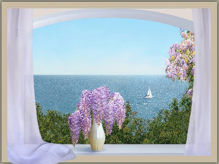 VIEW FROM THE WINDOW - flowers, window, beautiful, boat, painting, sea, curtain, vase