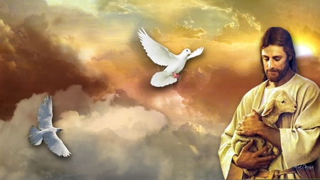Jesus and the Lamb - religion, sky, lamb, believe, easter, christian, clouds, sun, jesus, doves