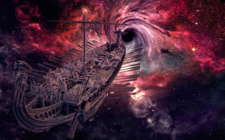 Traveling through galaxies.. - space, galaxy, travel, stars, boat, ship