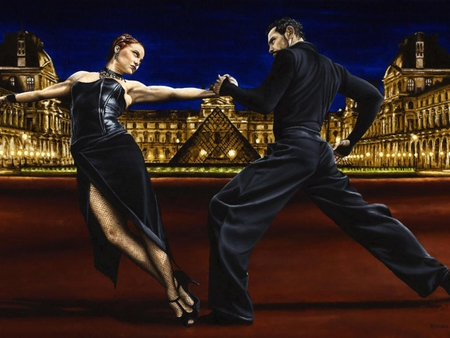 Richard Young - Last tango in Paris - couple, richard young, monument, black, suit, painting, art, dance, girl, man, young, woman, louvre, pyramid, last tango in paris
