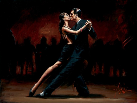Fabian Perez - Tango In Paris In Black Suit - passion, tango, paris, painting, art, dance, girl, fabian perez, man, young, woman, black suit, love, kiss