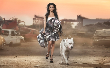 Babe With Dog - dog, desert, babe, animal, wolf