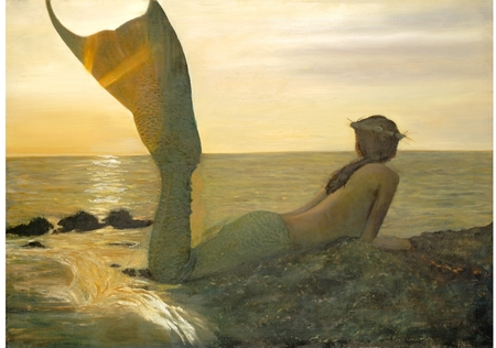 mermaid lying near seaside - mermaid, seaside, under water, rocks, sea, fantasy