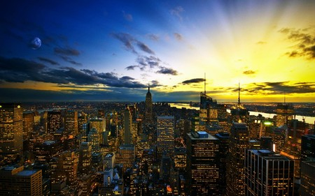 New York Skyline At Sunset - skyscrapers, skyline, sky, blue, new york, yellow, architecture, light, clouds, sunset, moon, sun, city
