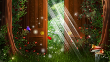 Door to Spring - flowers, dragonflies, trees, door, doors, birds, toadstools, light, enchanting, sunshine, grass, sun, fantasy, mushrooms