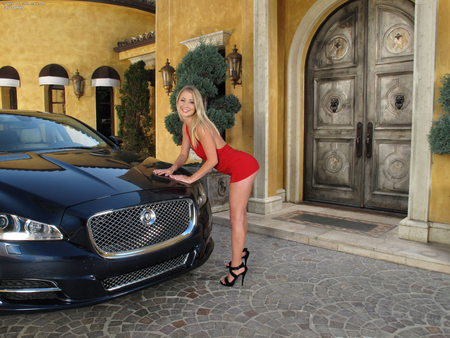 Casi James and her Jag - heels, beautiful, legs, luxury, babe, face, james, sexy, girl, lady, woman, eyes, red, blond, car, casi, jag, skirt, hot, hair, lips, jaguar, blonde, dress