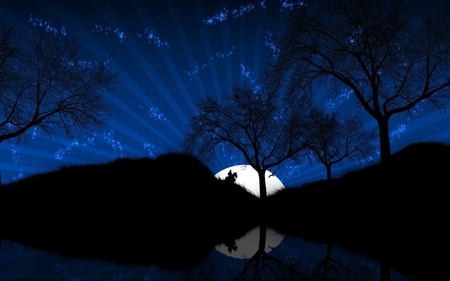 MOON - hill, horse, trees, reflection, sky, night, stars, man, moon