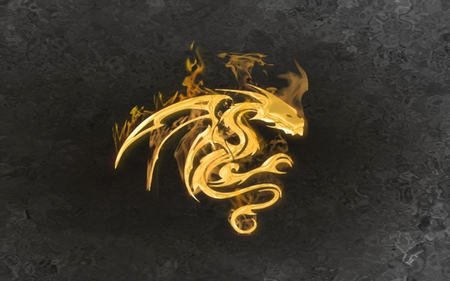 fire dragon - tribal, gold, fire, dragon, golden, flames