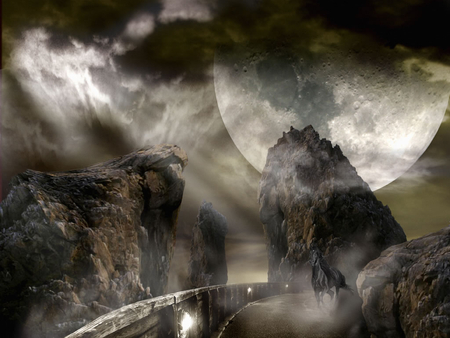 horse alone - alien planet, horse, moon, rocks, night