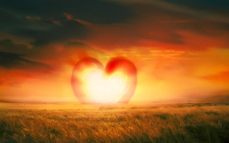 Heart shape sunset sky nature background wallpapers on - A live nature wallpaper ...
