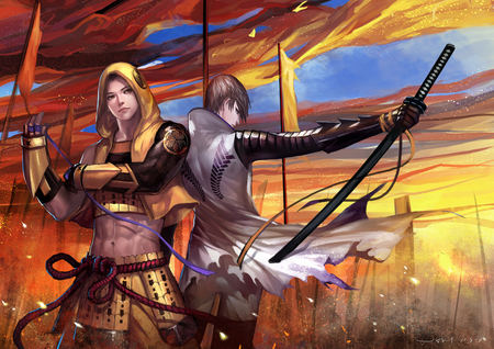Sengoku Basara - torn clothes, male, anime boy, ribbon, katana, fighter, mitsunari ishida, flag, team, warrior, sky, armor, group, tokugawa ieyasu, weapon, brave, sengoku basara, sword, two boys