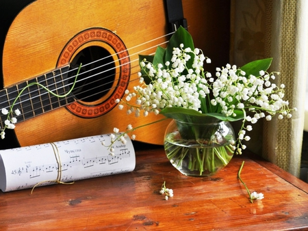 Song of Spring - song, flowers, spring, lily of the valley, guitar, nature, bouquet