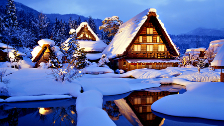 Winter Time - splendor, evening, reflection, blue, architecture, water, winter splendor, house, winter time, trees, light, clouds, sunny, cabin, peaceful, winter, lake, beautiful, tree, view, beauty, cottage, landscape, sunset, snow, white, mountains, snowy, sky, lights, houses, lovely, pond, nature