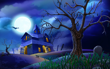 house - halloween, sky, art, bats, tree, night, cemetary, full moon, clouds, moon, house