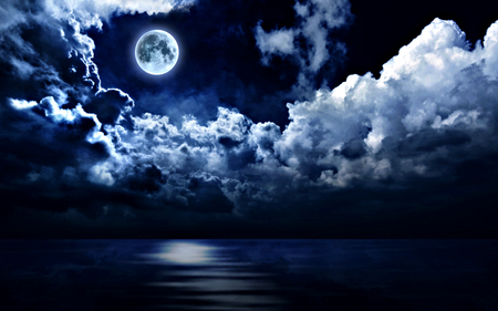 Full Moon - clouds, blue, peaceful, nature, view, lovely, moon, full moon, night, blue night, beauty, sea, moonlight, beautiful, splendor, sky, ocean, reflection