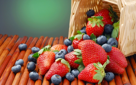 fruit basket - strawberries, basket, fruits, nature, blueberries
