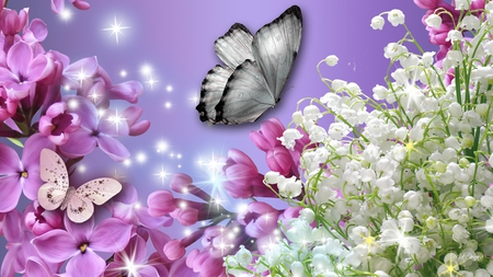 Lilac Fever - butterfly, lily of the valley, dazzle, pink, lavender, purple, stars, lilac, spring, sparkle