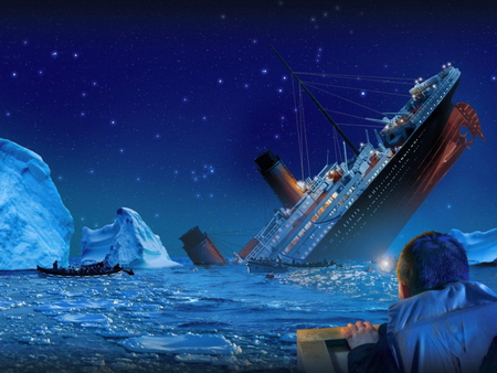 Swallowed - disaster, survivor, night, iceberg, boat, ship, titanic, sinking, wreackage