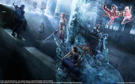 Final Fantasy XIII-2 - serah farron, mog, future, etro, goddess, purple hair, moogle, lightning, video game, claire, ponytail, fantasy, feathers, ballad, together, noel, strong, caius ballad, long hair, cute, heart, pink hair, sisters, farron, ice, fight, flower, war, valhala, final fantast xiii-2, noel kreiss, throne, caius, creature, final, twin swords, yuel, hope, chaos, kreiss, temple