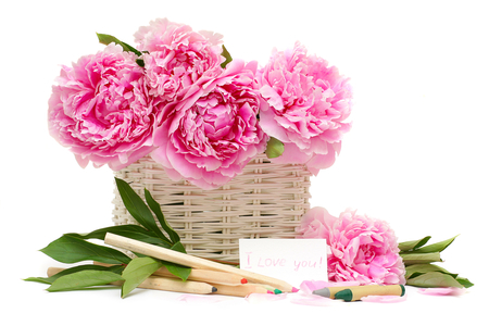 Words in flowers ♥ - declaration, sunny, i love you, lovely, peonies, fashion, together, forever, soft pink, crayons, sweet, basket, sweetness, floral design, love, sunshine, bright, colored, entertainment